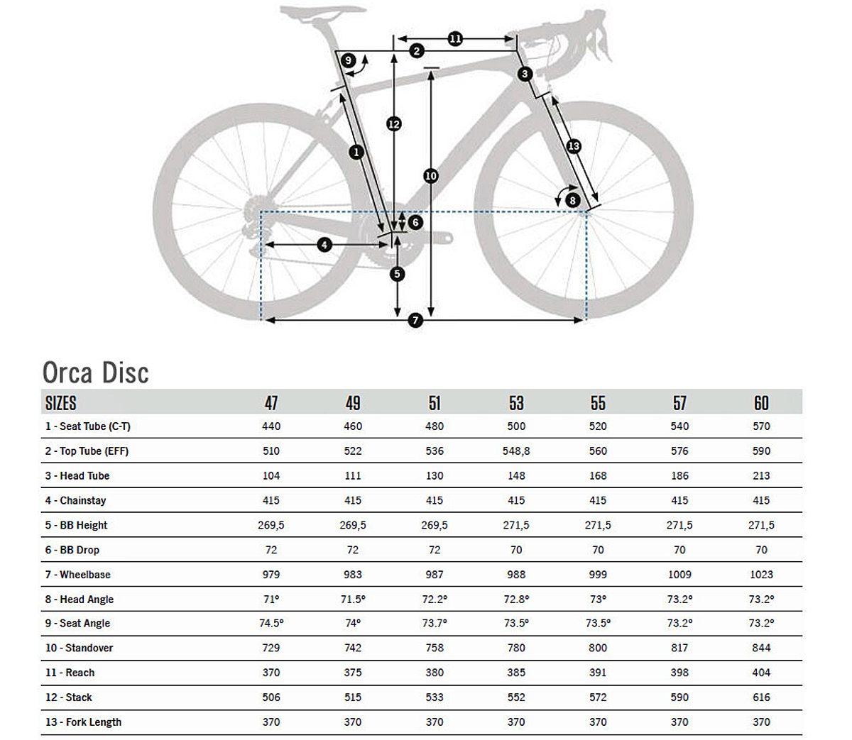 Orbea Orca Disc Geometry
